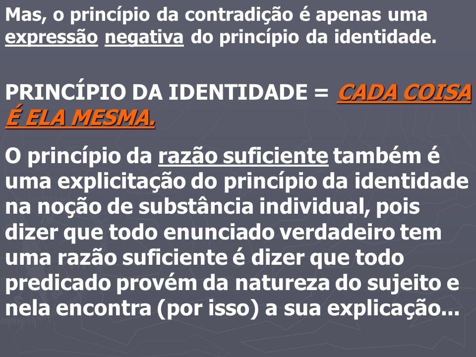 Mas, o princípio da contradição é apenas uma expressão negativa do princípio da identidade. CADA COISA É ELA MESMA. PRINCÍPIO DA IDENTIDADE = CADA COI