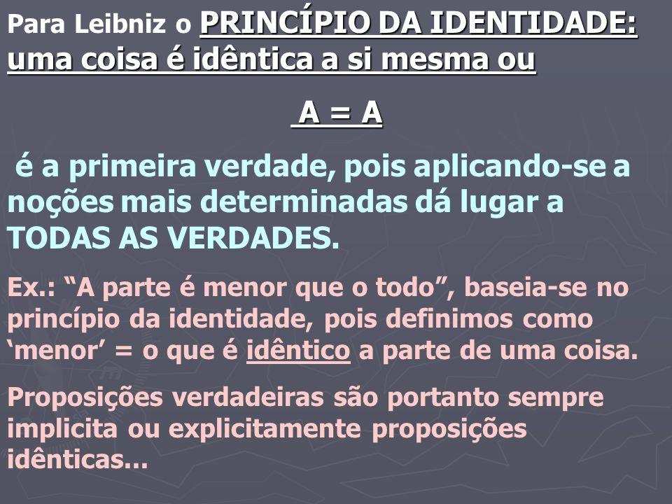 PRINCÍPIO DA IDENTIDADE: uma coisa é idêntica a si mesma ou Para Leibniz o PRINCÍPIO DA IDENTIDADE: uma coisa é idêntica a si mesma ou A = A A = A é a primeira verdade, pois aplicando-se a noções mais determinadas dá lugar a TODAS AS VERDADES.