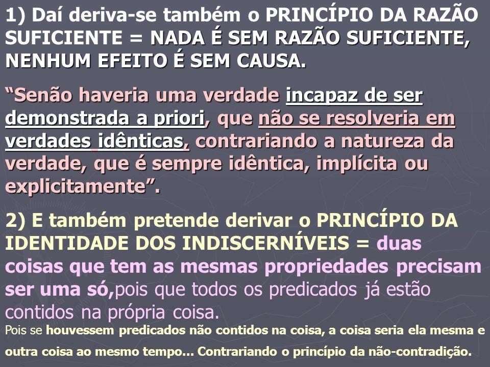 Para Leibniz o cogito é a primeira verdade evidente de fato e o princípio da não-contradição é a primeira verdade da razão.