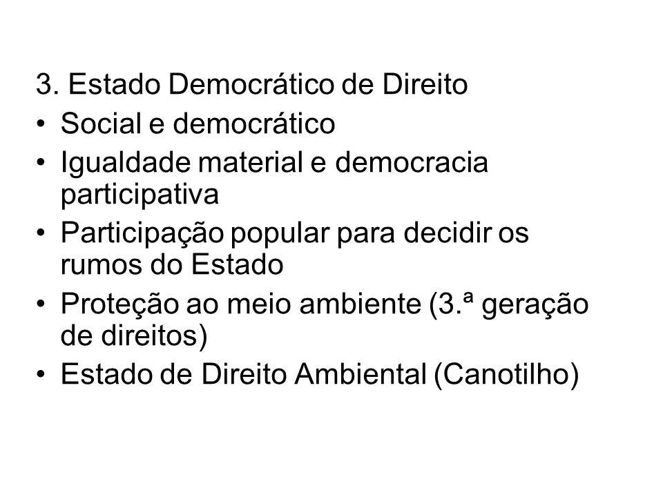 3. Estado Democrático de Direito Social e democrático Igualdade material e democracia participativa Participação popular para decidir os rumos do Esta