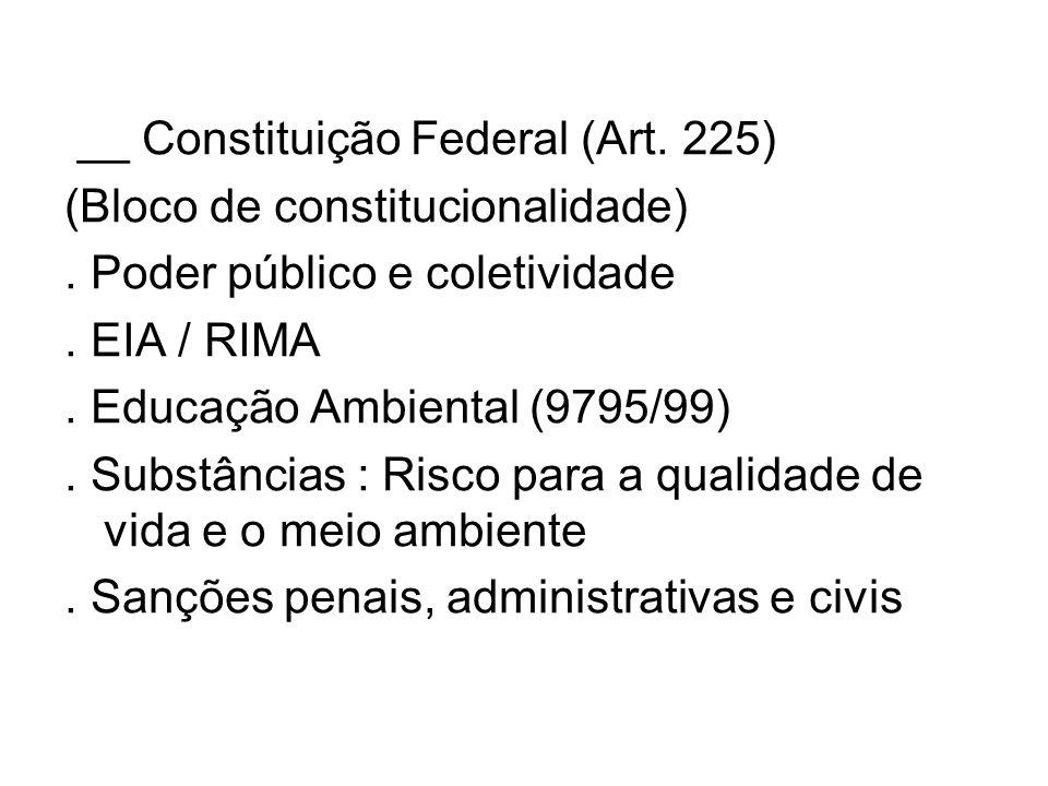 __ Constituição Federal (Art. 225) (Bloco de constitucionalidade). Poder público e coletividade. EIA / RIMA. Educação Ambiental (9795/99). Substâncias