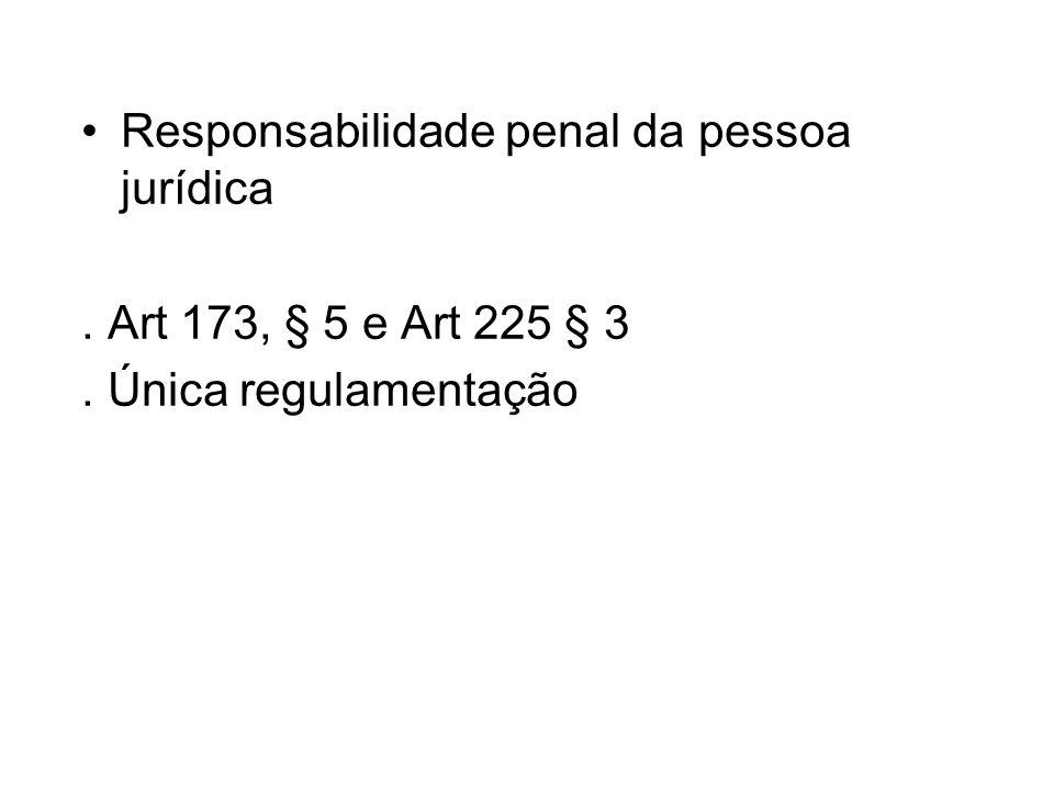 Responsabilidade penal da pessoa jurídica. Art 173, § 5 e Art 225 § 3. Única regulamentação