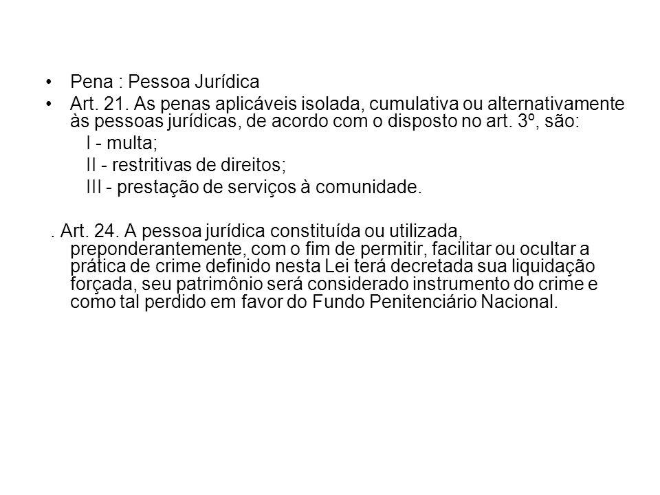 Pena : Pessoa Jurídica Art. 21. As penas aplicáveis isolada, cumulativa ou alternativamente às pessoas jurídicas, de acordo com o disposto no art. 3º,