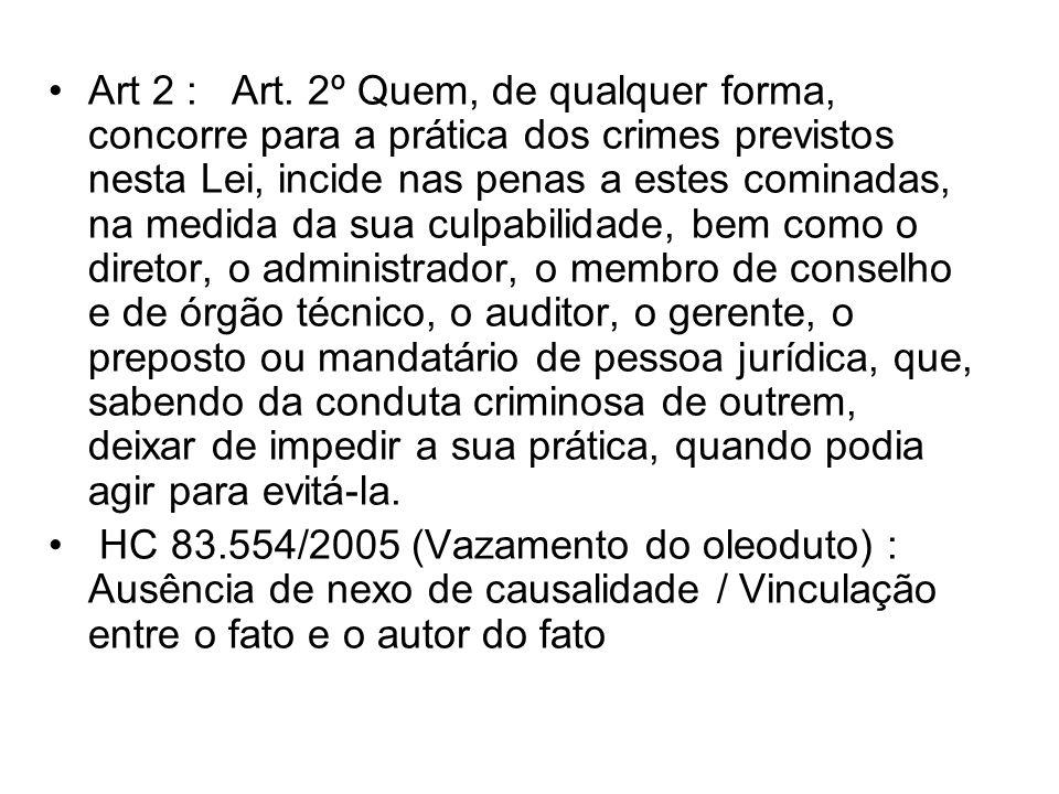 Art 2 : Art. 2º Quem, de qualquer forma, concorre para a prática dos crimes previstos nesta Lei, incide nas penas a estes cominadas, na medida da sua