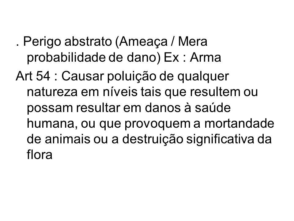 . Perigo abstrato (Ameaça / Mera probabilidade de dano) Ex : Arma Art 54 : Causar poluição de qualquer natureza em níveis tais que resultem ou possam