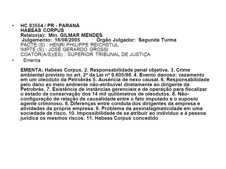 HC 83554 / PR - PARANÁ HABEAS CORPUS Relator(a): Min. GILMAR MENDES Julgamento: 16/08/2005 Órgão Julgador: Segunda Turma PACTE.(S) : HENRI PHILIPPE RE