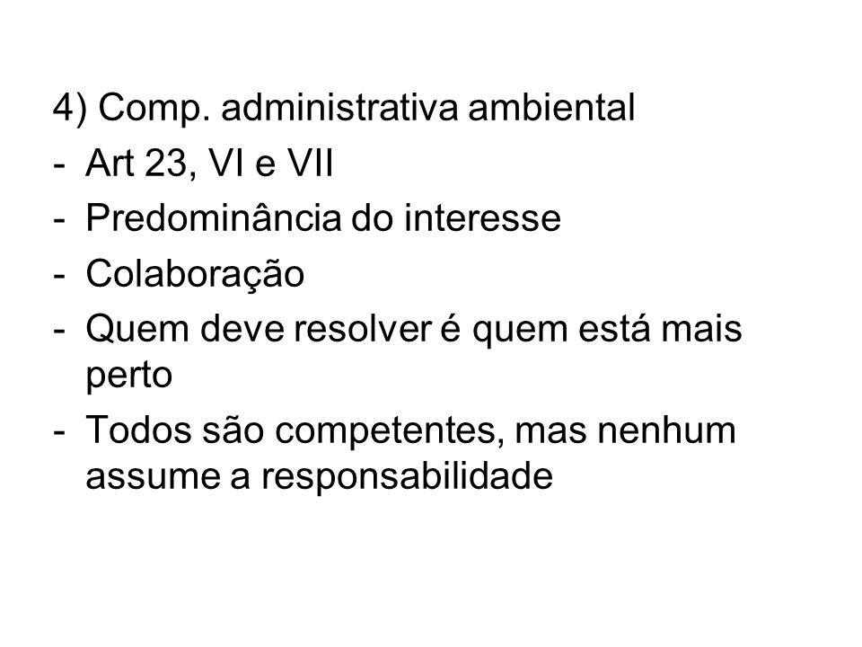 4) Comp. administrativa ambiental -Art 23, VI e VII -Predominância do interesse -Colaboração -Quem deve resolver é quem está mais perto -Todos são com