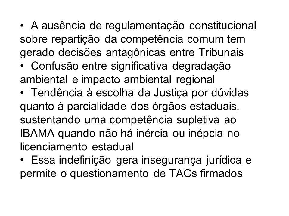A ausência de regulamentação constitucional sobre repartição da competência comum tem gerado decisões antagônicas entre Tribunais Confusão entre signi
