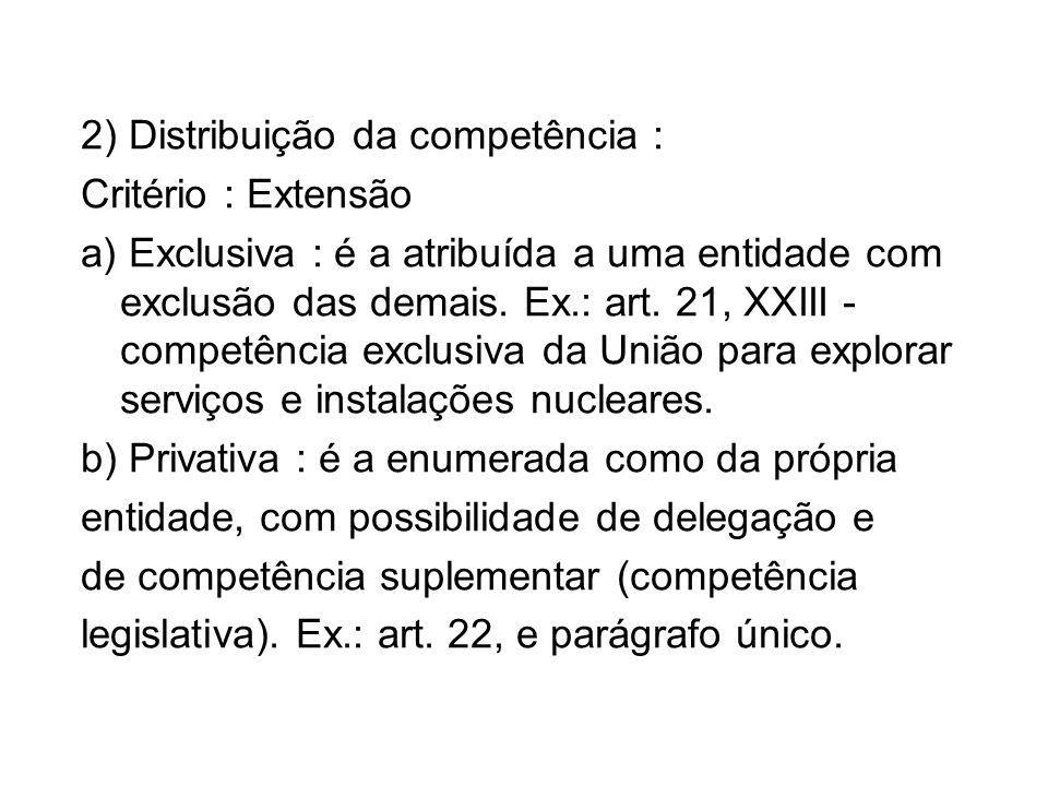 2) Distribuição da competência : Critério : Extensão a) Exclusiva : é a atribuída a uma entidade com exclusão das demais. Ex.: art. 21, XXIII - compet