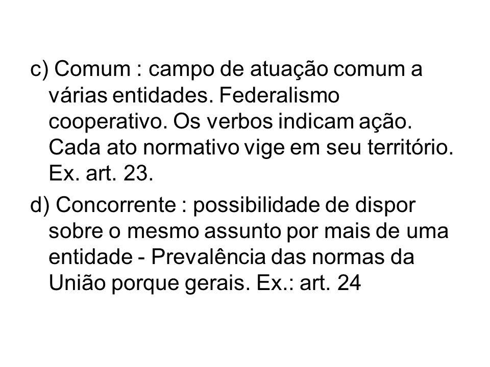 c) Comum : campo de atuação comum a várias entidades. Federalismo cooperativo. Os verbos indicam ação. Cada ato normativo vige em seu território. Ex.