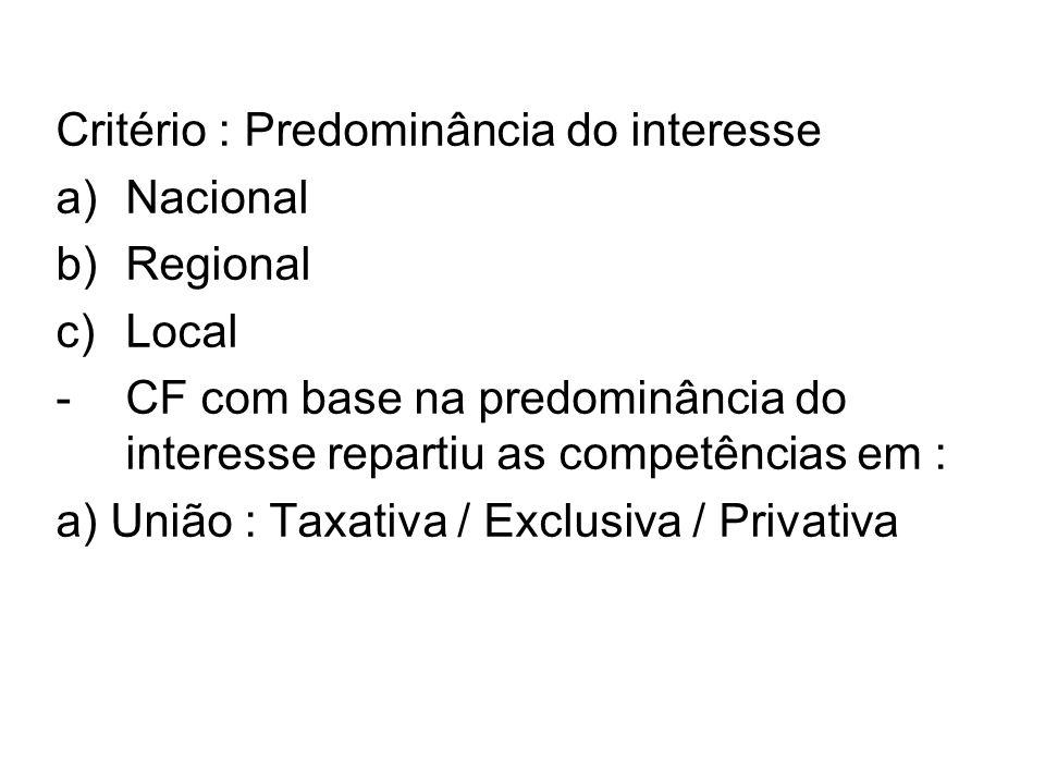 Critério : Predominância do interesse a)Nacional b)Regional c)Local -CF com base na predominância do interesse repartiu as competências em : a) União : Taxativa / Exclusiva / Privativa