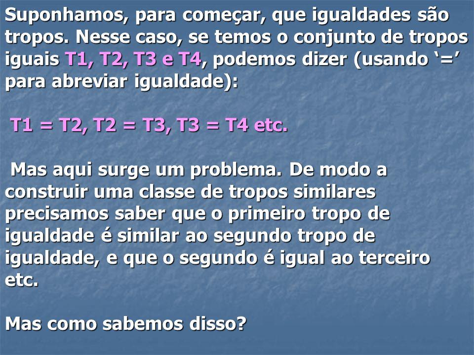 Suponhamos, para começar, que igualdades são tropos. Nesse caso, se temos o conjunto de tropos iguais T1, T2, T3 e T4, podemos dizer (usando = para ab