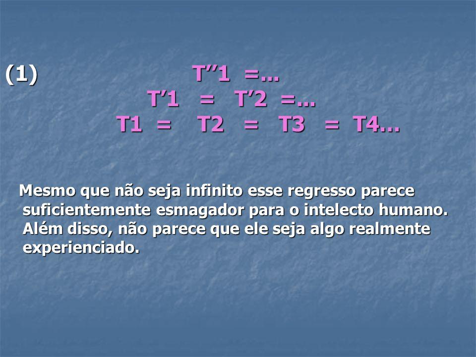 (1) T1 =... T1 = T2 =... T1 = T2 =... T1 = T2 = T3 = T4… T1 = T2 = T3 = T4… Mesmo que não seja infinito esse regresso parece suficientemente esmagador