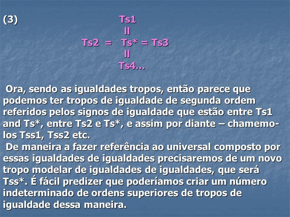(3) Ts1 ll ll Ts2 = Ts* = Ts3 Ts2 = Ts* = Ts3 ll ll Ts4… Ts4… Ora, sendo as igualdades tropos, então parece que podemos ter tropos de igualdade de seg