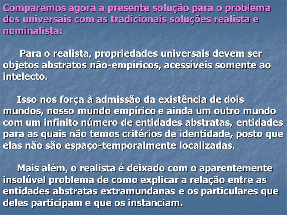 Comparemos agora a presente solução para o problema dos universais com as tradicionais soluções realista e nominalista: Para o realista, propriedades