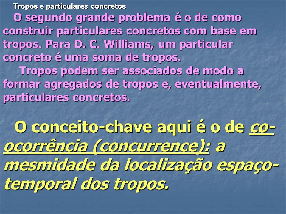Tropos e particulares concretos Tropos e particulares concretos O segundo grande problema é o de como construir particulares concretos com base em tro