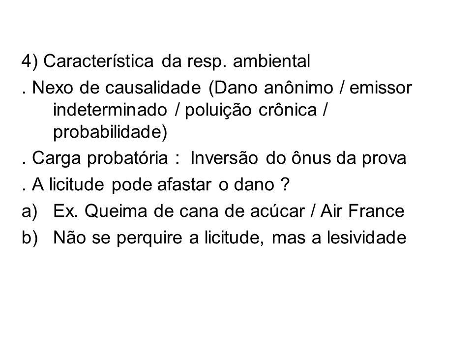 4) Característica da resp. ambiental. Nexo de causalidade (Dano anônimo / emissor indeterminado / poluição crônica / probabilidade). Carga probatória