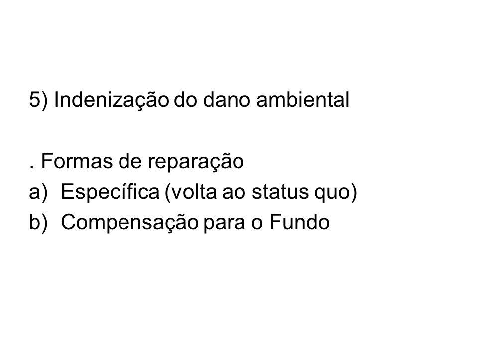5) Indenização do dano ambiental. Formas de reparação a)Específica (volta ao status quo) b)Compensação para o Fundo