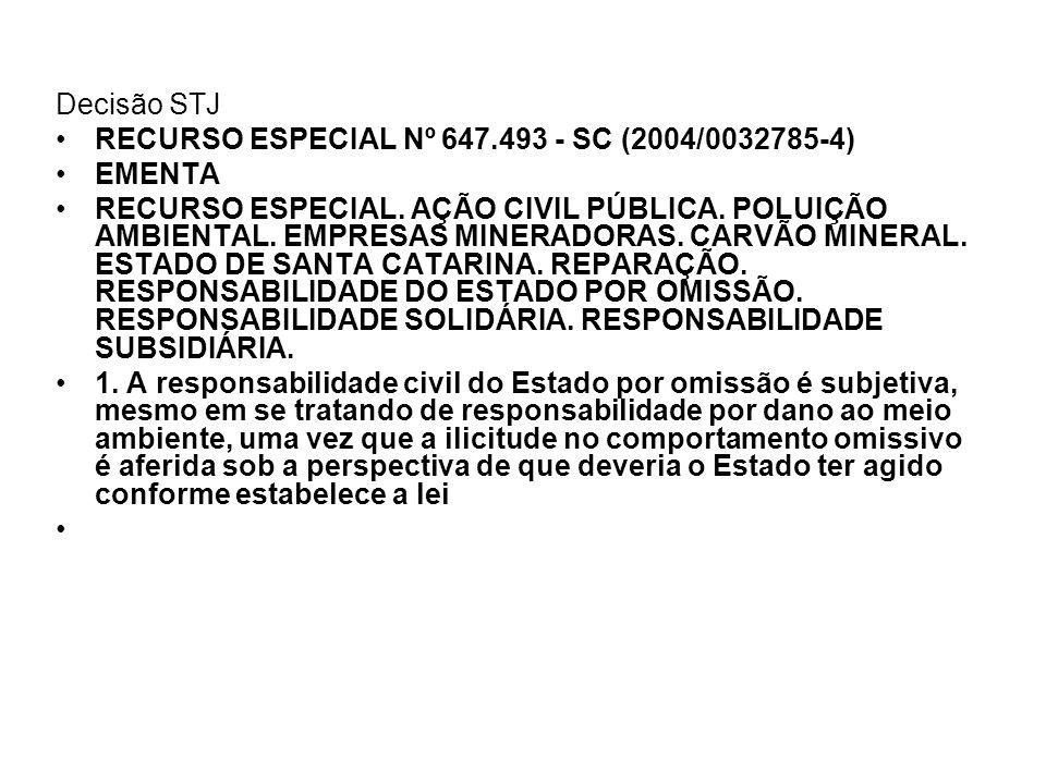 Decisão STJ RECURSO ESPECIAL Nº 647.493 - SC (2004/0032785-4) EMENTA RECURSO ESPECIAL. AÇÃO CIVIL PÚBLICA. POLUIÇÃO AMBIENTAL. EMPRESAS MINERADORAS. C