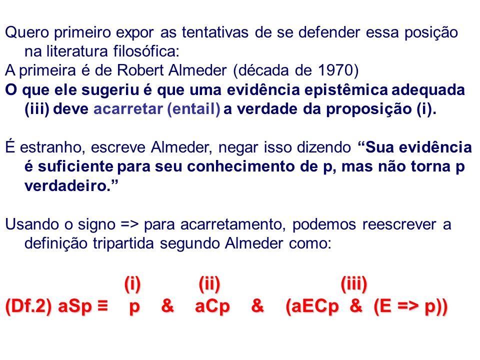 Quero primeiro expor as tentativas de se defender essa posição na literatura filosófica: A primeira é de Robert Almeder (década de 1970) O que ele sugeriu é que uma evidência epistêmica adequada (iii) deve acarretar (entail) a verdade da proposição (i).