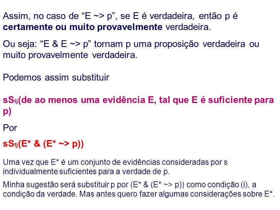 Assim, no caso de E ~> p, se E é verdadeira, então p é certamente ou muito provavelmente verdadeira.