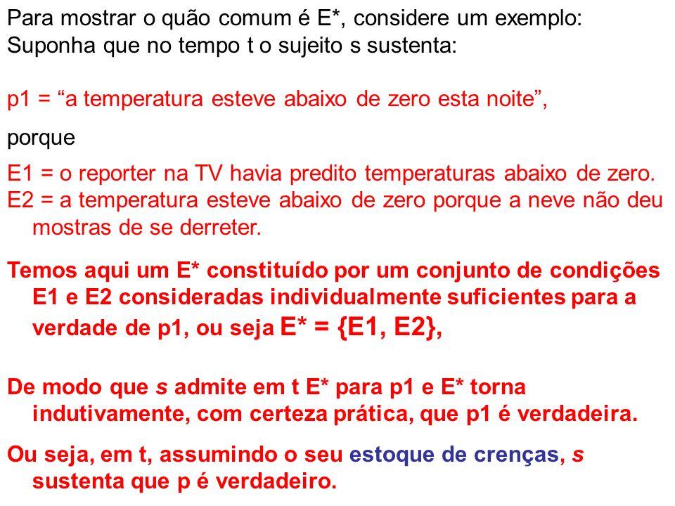 Para mostrar o quão comum é E*, considere um exemplo: Suponha que no tempo t o sujeito s sustenta: p1 = a temperatura esteve abaixo de zero esta noite, porque E1 = o reporter na TV havia predito temperaturas abaixo de zero.