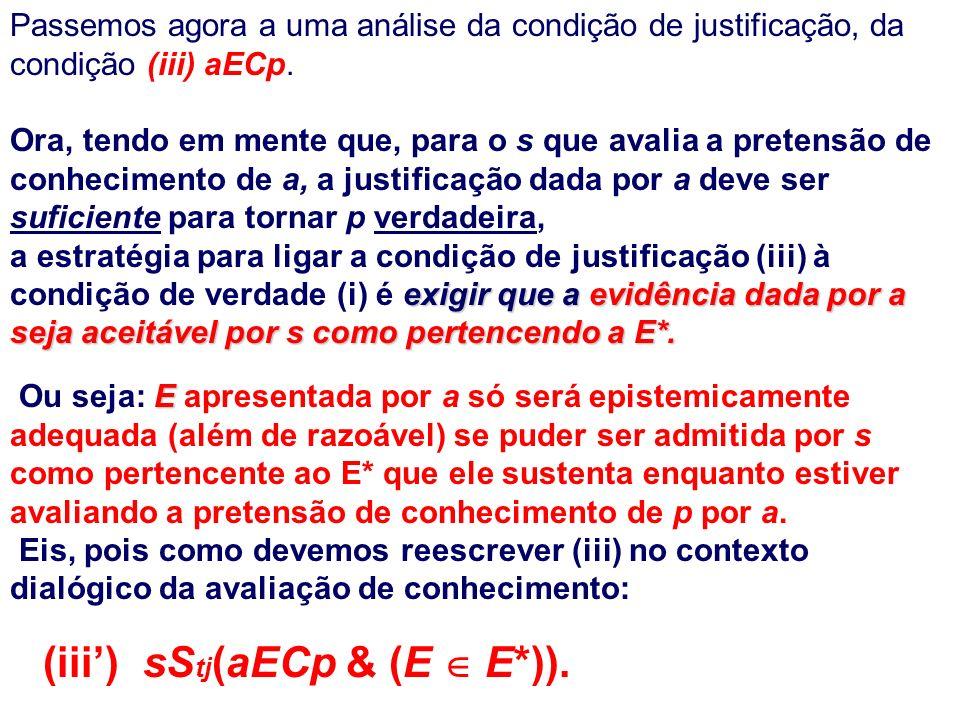 Passemos agora a uma análise da condição de justificação, da condição (iii) aECp.