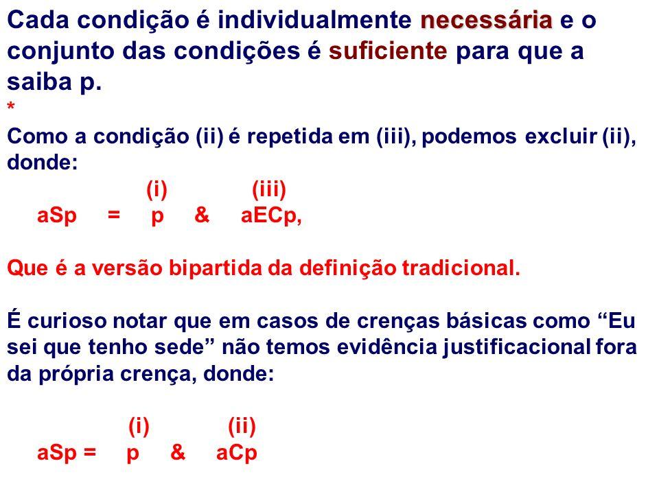 necessária Cada condição é individualmente necessária e o conjunto das condições é suficiente para que a saiba p.