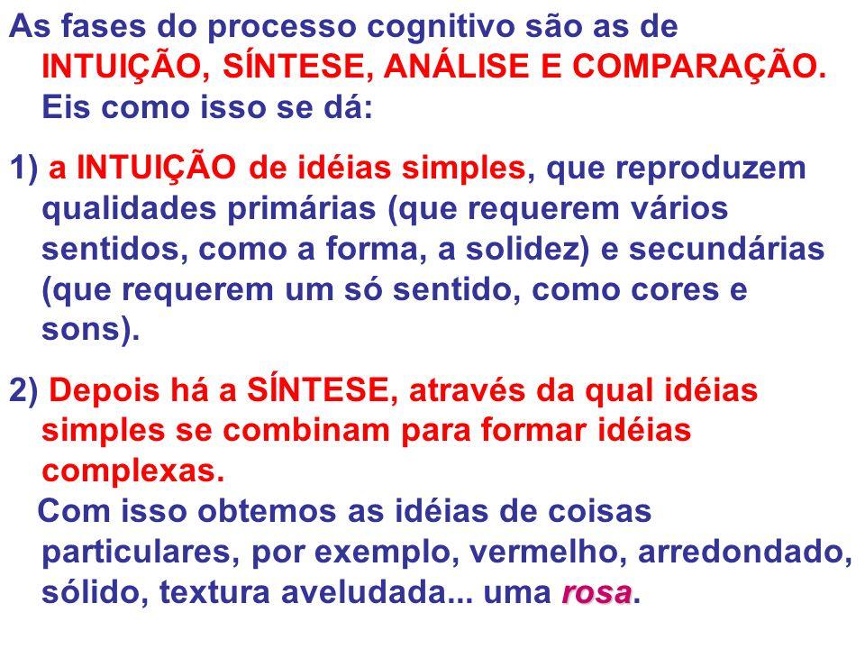 As fases do processo cognitivo são as de INTUIÇÃO, SÍNTESE, ANÁLISE E COMPARAÇÃO. Eis como isso se dá: 1) a INTUIÇÃO de idéias simples, que reproduzem