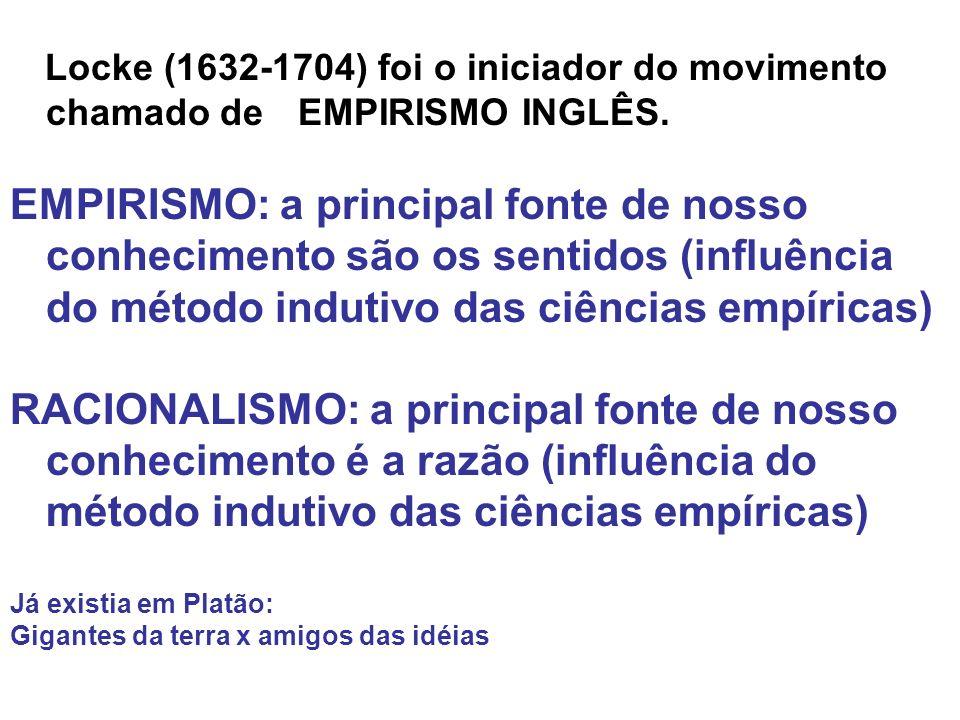 Locke (1632-1704) foi o iniciador do movimento chamado de EMPIRISMO INGLÊS. EMPIRISMO: a principal fonte de nosso conhecimento são os sentidos (influê