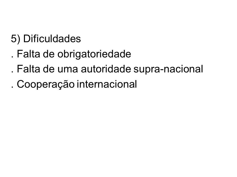 5) Dificuldades. Falta de obrigatoriedade. Falta de uma autoridade supra-nacional.