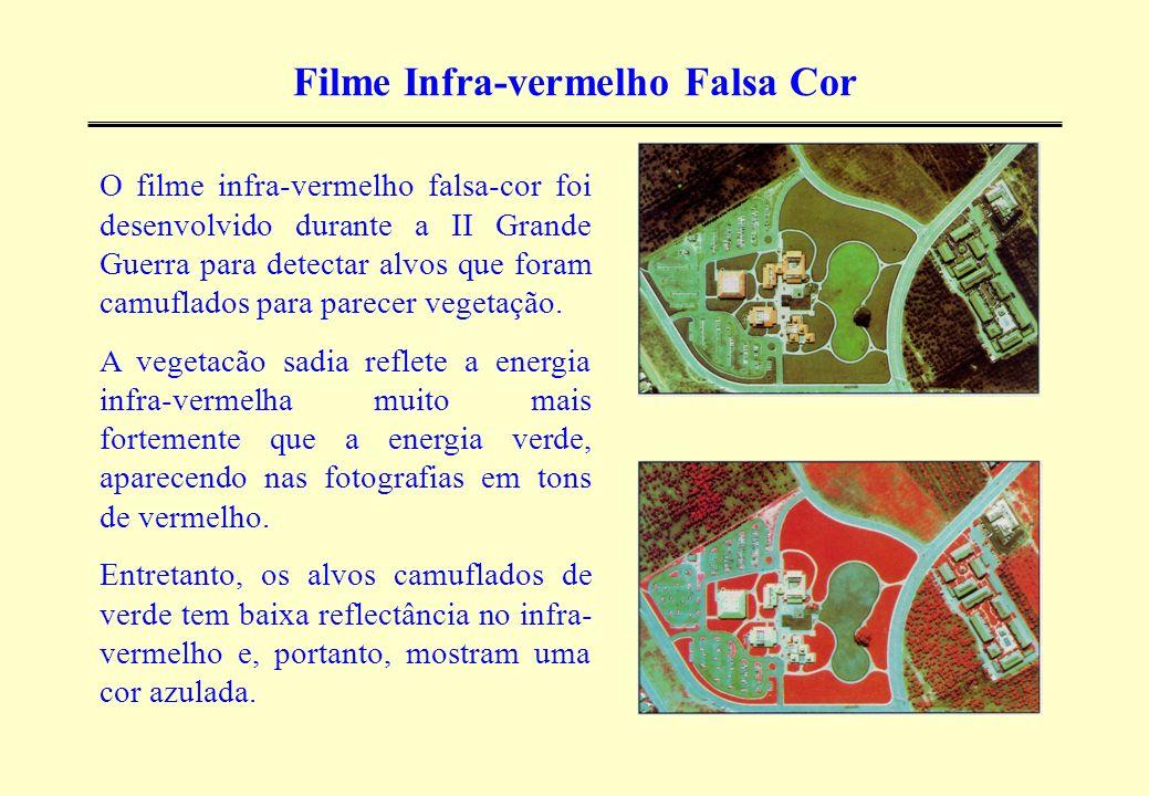 Filme Infra-vermelho Falsa Cor O filme infra-vermelho falsa-cor foi desenvolvido durante a II Grande Guerra para detectar alvos que foram camuflados p
