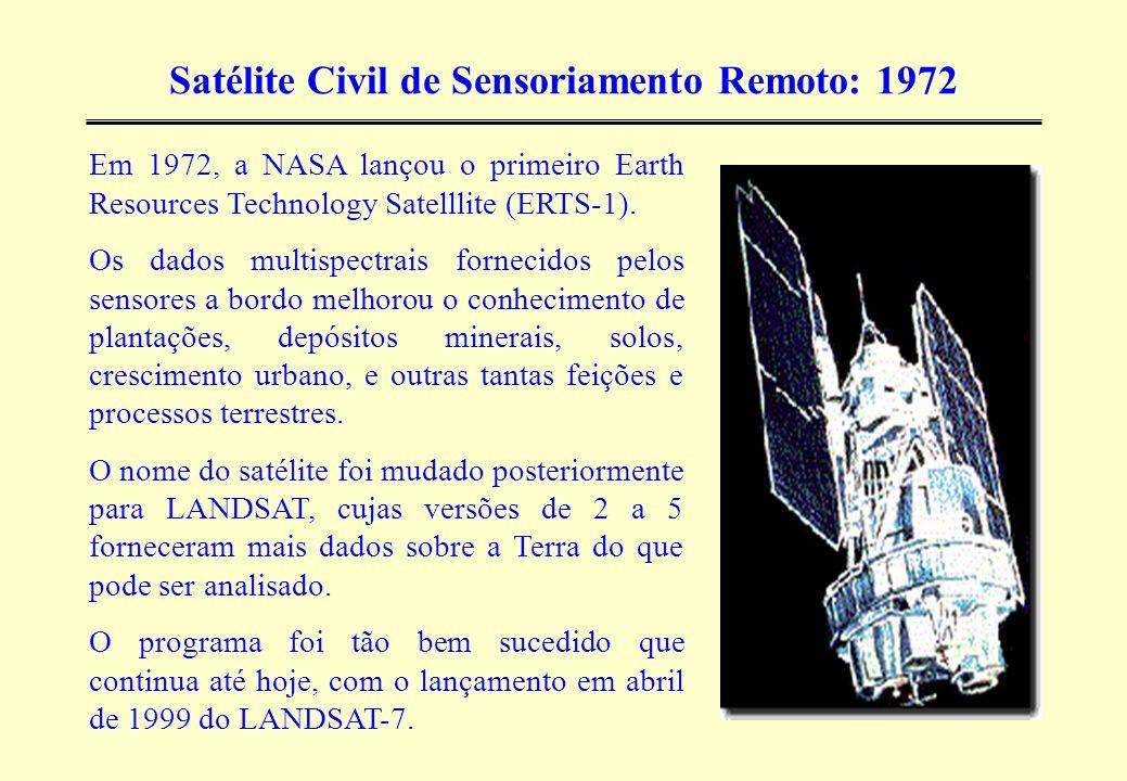 Satélite Civil de Sensoriamento Remoto: 1972 Em 1972, a NASA lançou o primeiro Earth Resources Technology Satelllite (ERTS-1). Os dados multispectrais