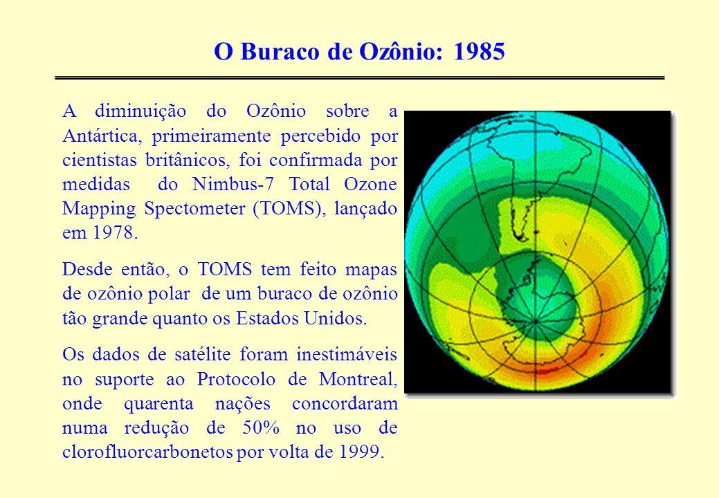 O Buraco de Ozônio: 1985 A diminuição do Ozônio sobre a Antártica, primeiramente percebido por cientistas britânicos, foi confirmada por medidas do Ni