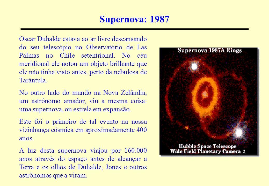 Supernova: 1987 Oscar Duhalde estava ao ar livre descansando do seu telescópio no Observatório de Las Palmas no Chile setentrional. No céu meridional