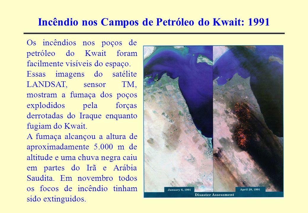 Incêndio nos Campos de Petróleo do Kwait: 1991 Os incêndios nos poços de petróleo do Kwait foram facilmente visíveis do espaço. Essas imagens do satél