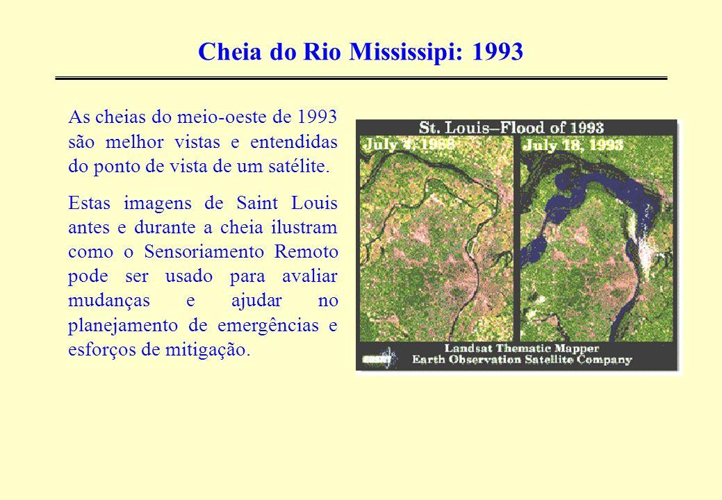 Cheia do Rio Mississipi: 1993 As cheias do meio-oeste de 1993 são melhor vistas e entendidas do ponto de vista de um satélite. Estas imagens de Saint