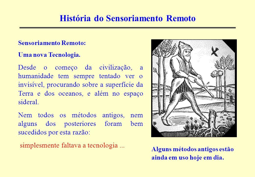 História do Sensoriamento Remoto Alguns métodos antigos estão ainda em uso hoje em dia. Sensoriamento Remoto: Uma nova Tecnologia. Desde o começo da c