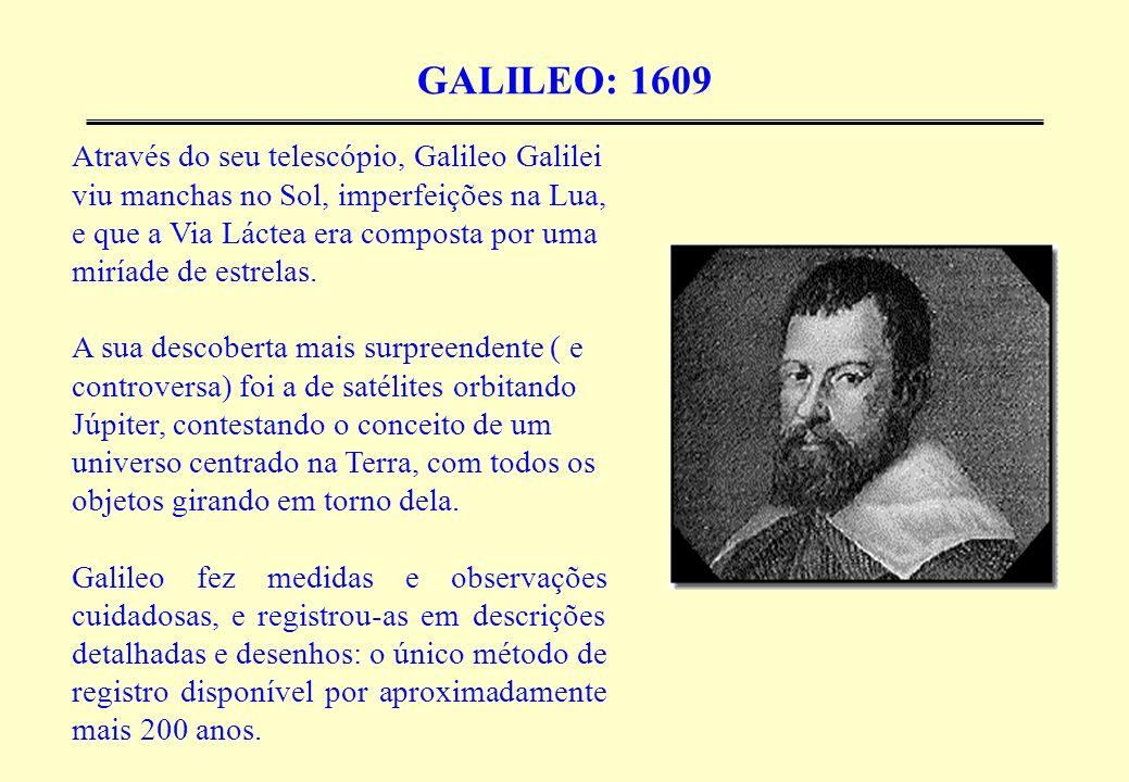 GALILEO: 1609 Através do seu telescópio, Galileo Galilei viu manchas no Sol, imperfeições na Lua, e que a Via Láctea era composta por uma miríade de e