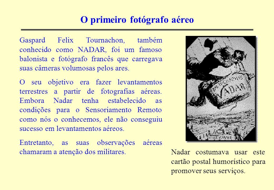 O primeiro fotógrafo aéreo Nadar costumava usar este cartão postal humorístico para promover seus serviços. Gaspard Felix Tournachon, também conhecido