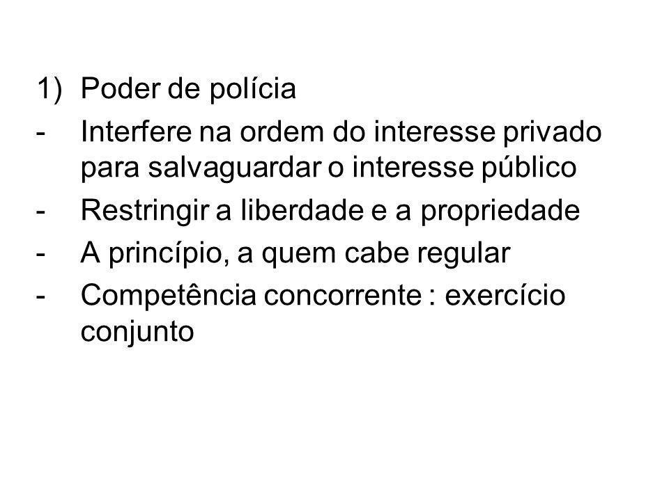 1)Poder de polícia -Interfere na ordem do interesse privado para salvaguardar o interesse público -Restringir a liberdade e a propriedade -A princípio, a quem cabe regular -Competência concorrente : exercício conjunto