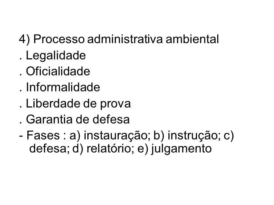 4) Processo administrativa ambiental.Legalidade. Oficialidade.