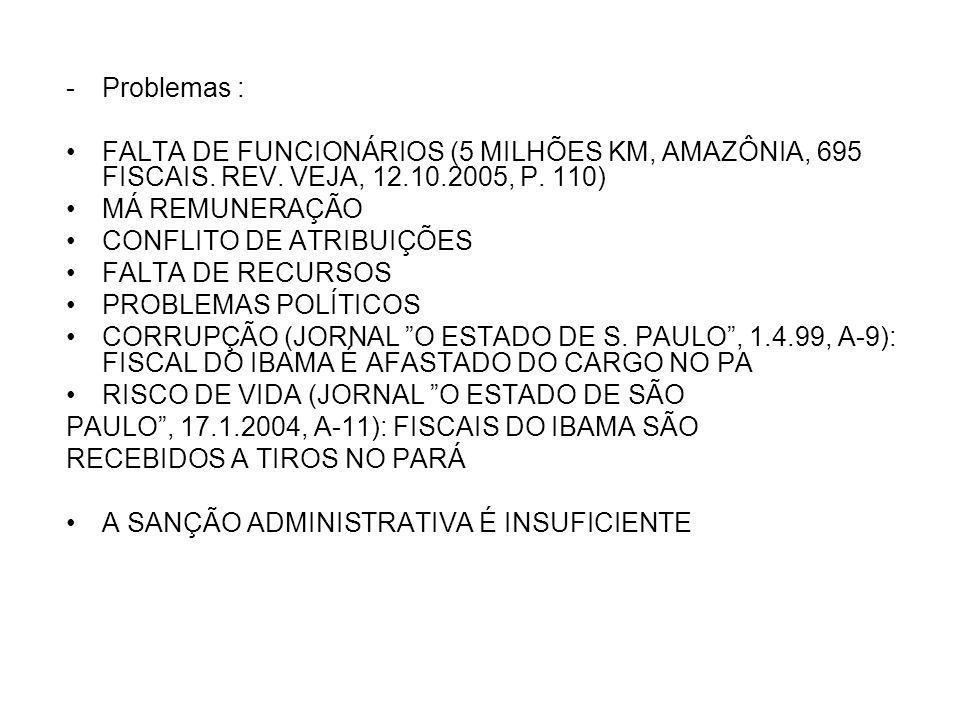 -Problemas : FALTA DE FUNCIONÁRIOS (5 MILHÕES KM, AMAZÔNIA, 695 FISCAIS.