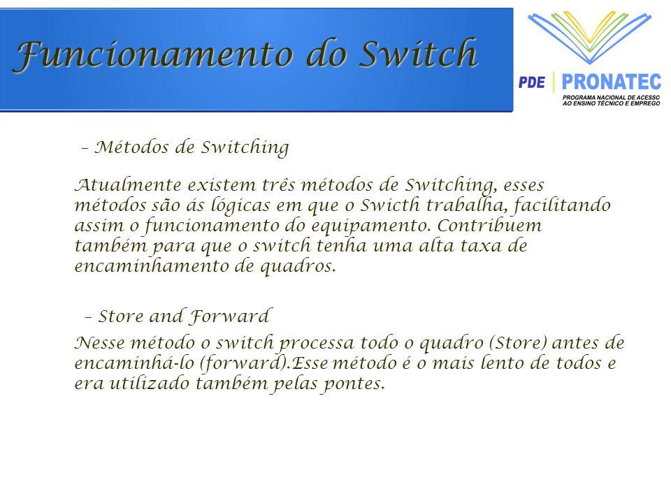 Atualmente existem três métodos de Switching, esses métodos são ás lógicas em que o Swicth trabalha, facilitando assim o funcionamento do equipamento.