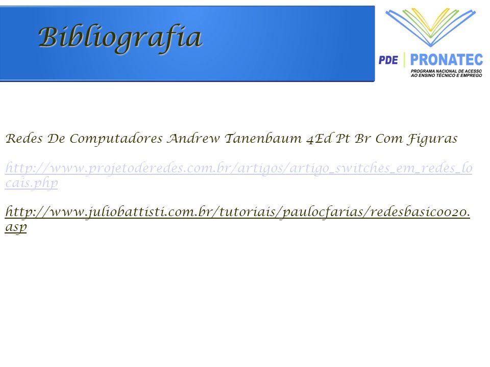 Bibliografia Redes De Computadores Andrew Tanenbaum 4Ed Pt Br Com Figuras http://www.projetoderedes.com.br/artigos/artigo_switches_em_redes_lo cais.php http://www.juliobattisti.com.br/tutoriais/paulocfarias/redesbasico020.