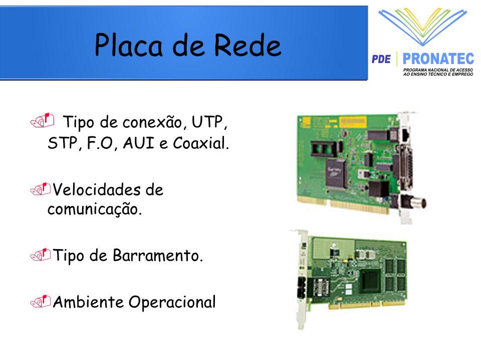 Tipo de conexão, UTP, STP, F.O, AUI e Coaxial.Velocidades de comunicação.