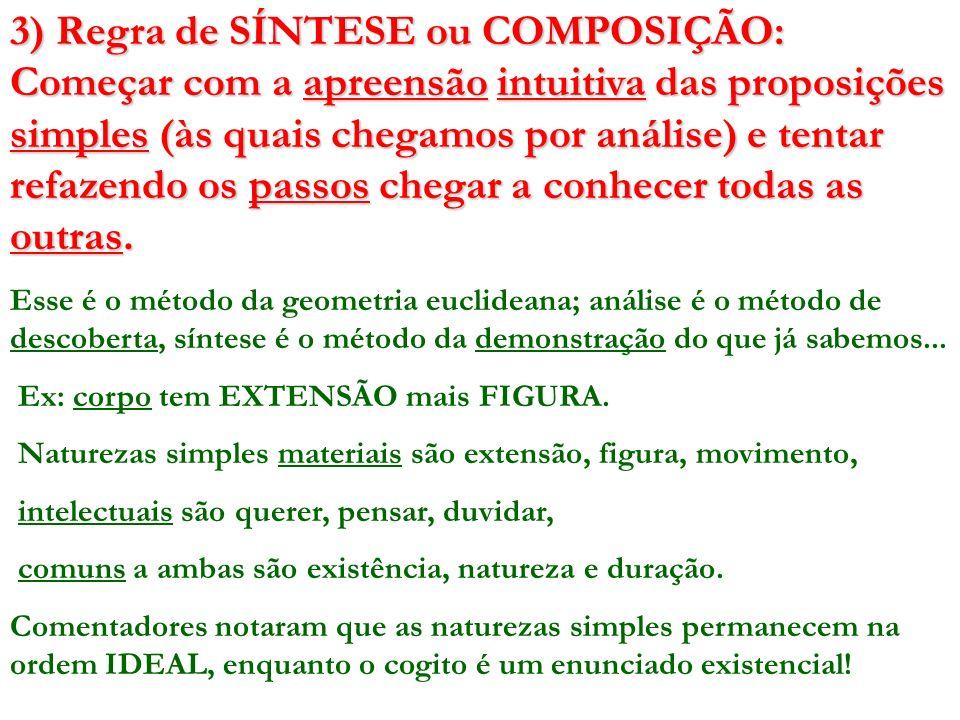 3) Regra de SÍNTESE ou COMPOSIÇÃO: Começar com a apreensão intuitiva das proposições simples (às quais chegamos por análise) e tentar refazendo os pas