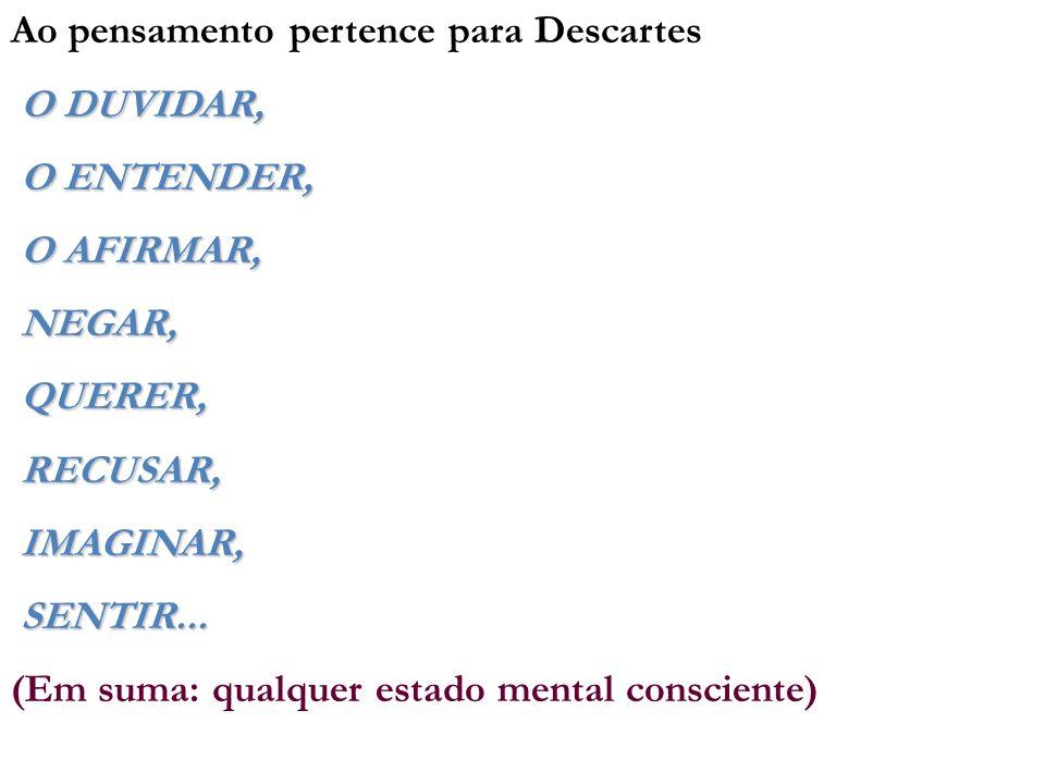 Ao pensamento pertence para Descartes O DUVIDAR, O ENTENDER, O ENTENDER, O AFIRMAR, O AFIRMAR, NEGAR, NEGAR, QUERER, QUERER, RECUSAR, RECUSAR, IMAGINA