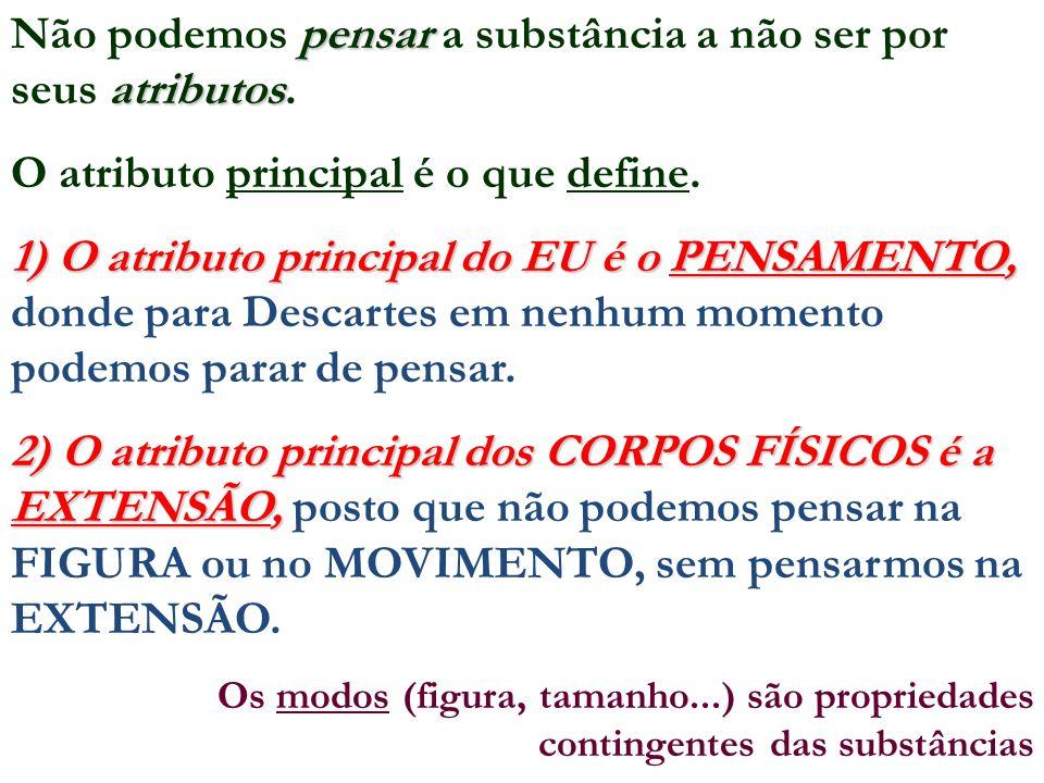 pensar atributos Não podemos pensar a substância a não ser por seus atributos. O atributo principal é o que define. 1) O atributo principal do EU é o