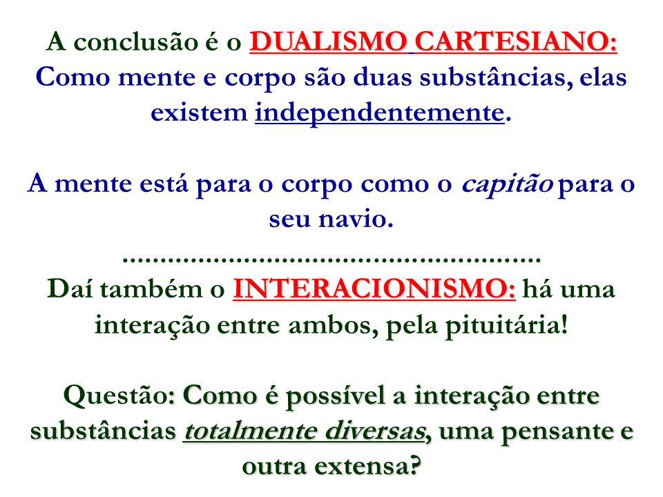 DUALISMO CARTESIANO: A conclusão é o DUALISMO CARTESIANO: Como mente e corpo são duas substâncias, elas existem independentemente. A mente está para o